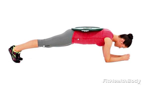 упражнение планка с блином